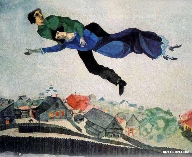 """Chagall """"au dessus de la ville"""""""
